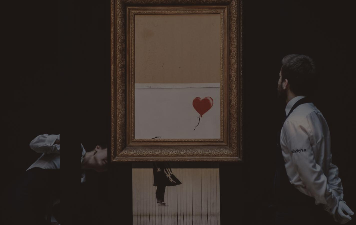 Girl with a balloon by Banksy turns into a new artwork