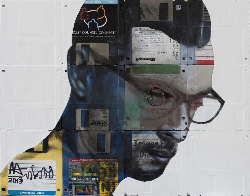 Nick Gentry: cuando los disquetes se convierten en retratos